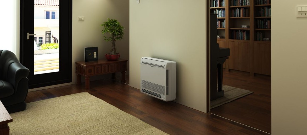 Verwarmen en koelen van de woning met een console model warmtepomp airconditioning